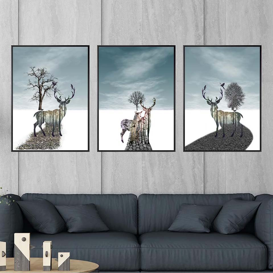 Art Decoration Conception Us 6 Vinsonloud Home Decoration Print Canvas Paintings Wall Art Poster Picture For Living Room Artistic Conception Elk Scenery In Painting