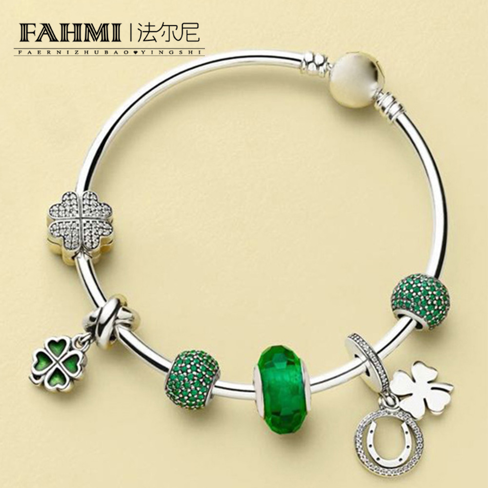 FAHMI 100% 925 Sterling Silver 1:1 Green Pave Ball Charm PETALS OF LOVE CLIP GOOD LUCK HANGING CHARM Four-leaf Clover Bangle SetFAHMI 100% 925 Sterling Silver 1:1 Green Pave Ball Charm PETALS OF LOVE CLIP GOOD LUCK HANGING CHARM Four-leaf Clover Bangle Set