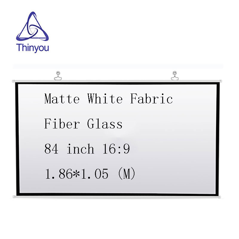 Thinyou Screen Wall 84 inch 16 9 Matte White Fabric Fiber Glass Portable font b Projector