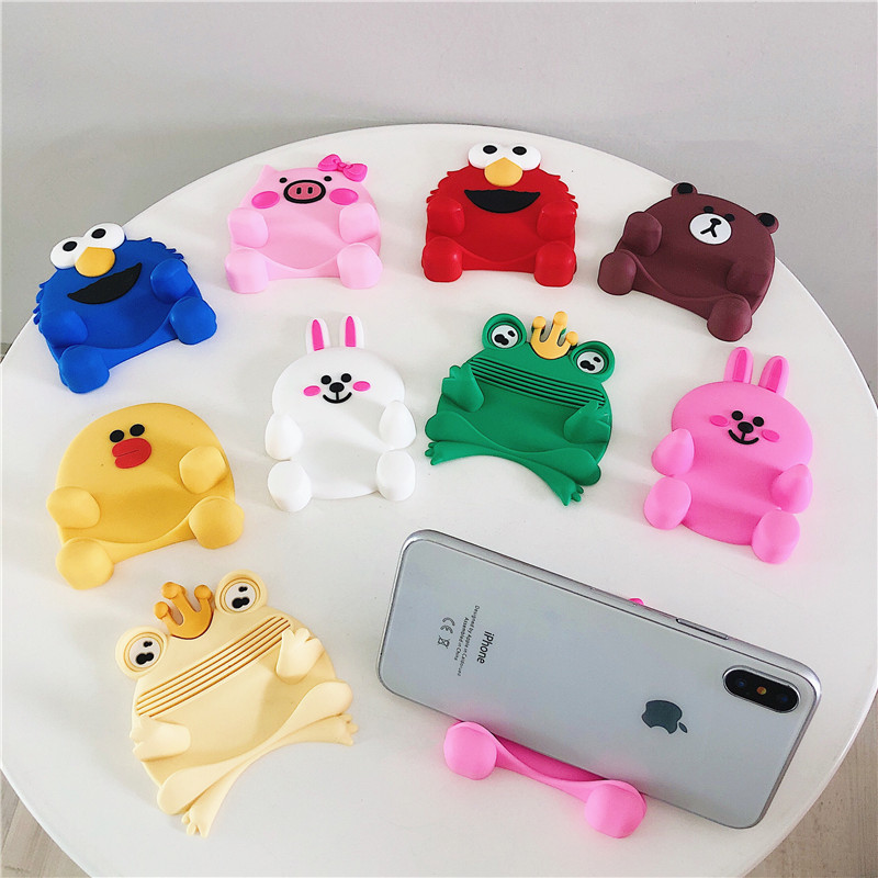 Silicone 3D Korea Cute Cartoon Sesame Street Cartoon Animals Desktop Lazy Universal Mobile Phone Stand Bracket For Iphone Huawei
