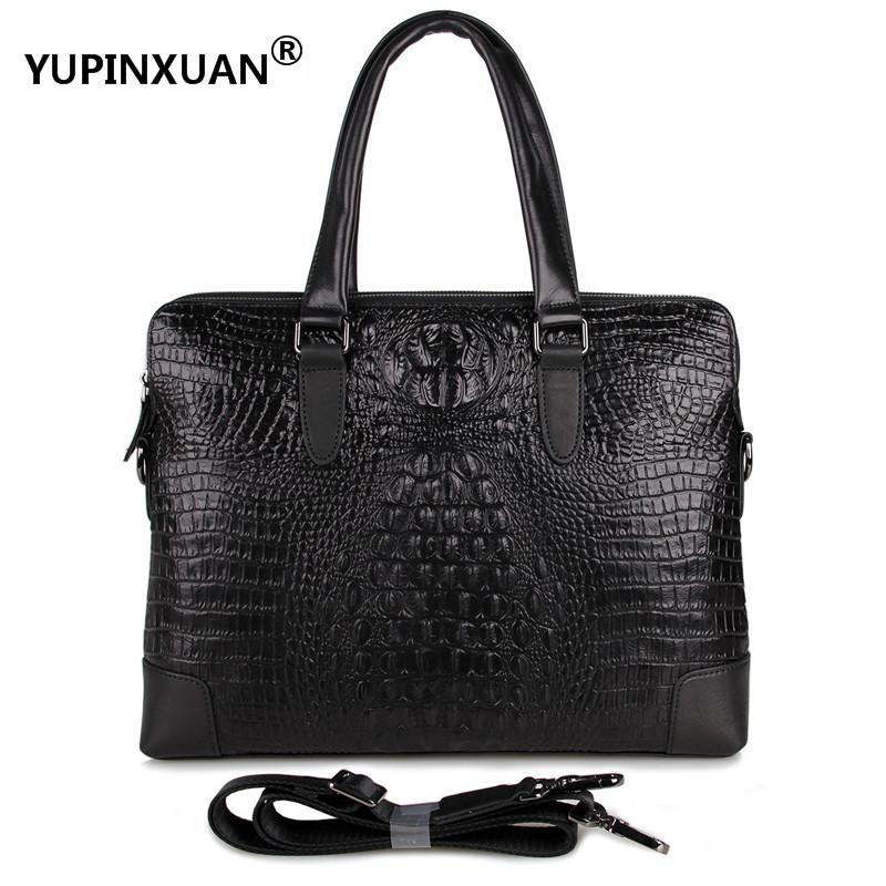YUPINXUAN 15 Laptop Cow Leather Handbags for Men Real Leather Alligator Briefcases Luxury Crocodile Pattern Messenger Bag Chile yupinxuan genuine leather briefcases men real leather messenger bags business laptop bag lawyer brief cases maletin chile