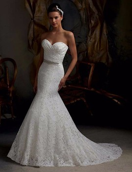 2017 Elegant Beaded Cheap Wedding Dresses White Lace Mermaid Belt Wedding Dress Vestido De Noiva Sexy Sweetheart Robe De Mariage