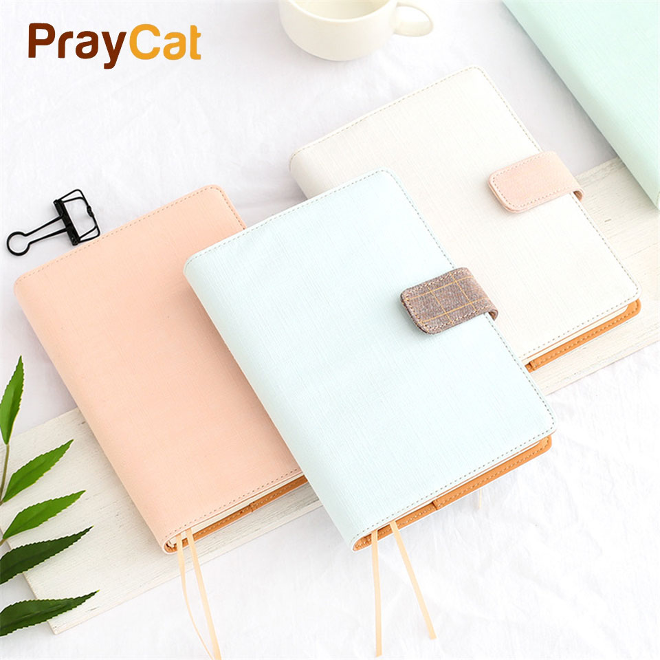 A5 Pink Grid Notebook 160 Sheets Super Thick Simple Dokibook Fabric Diary Planner Agenda Diary Book School Office Supplies sacred flower planner agenda notebook bound diary travel school to do list scheduler