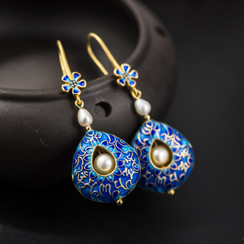 925 silver jewelry earrings DIY hand, mosaic Buddhist scriptures mantra cloisonne freshwater pearl earrings