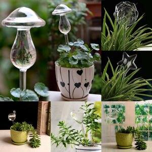 Image 1 - Alimentador de agua automático para plantas y flores, dispositivos de autoriego, alimentador de agua de vidrio transparente, jarrones con forma de pájaro, 6 tipos