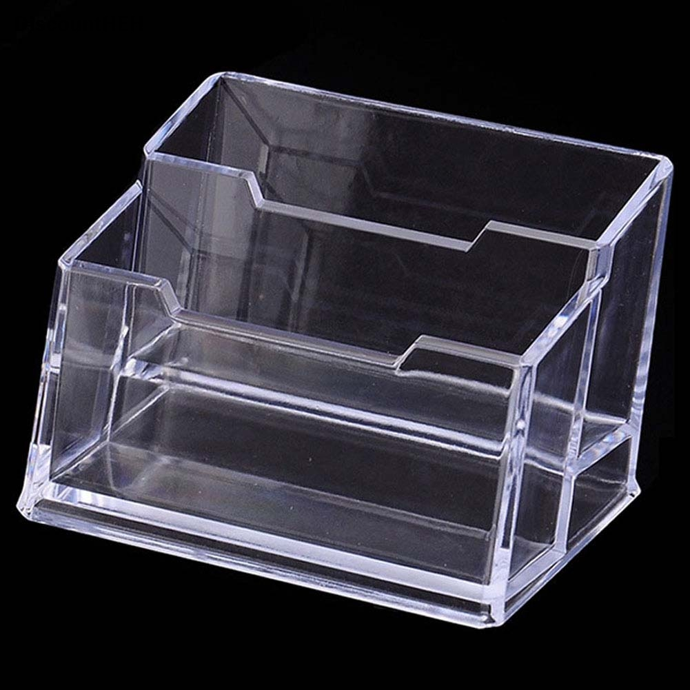 High Quality Double Display Stand Acrylic Plastic New Clear Desktop Business Card Holder Desk Shelf Box
