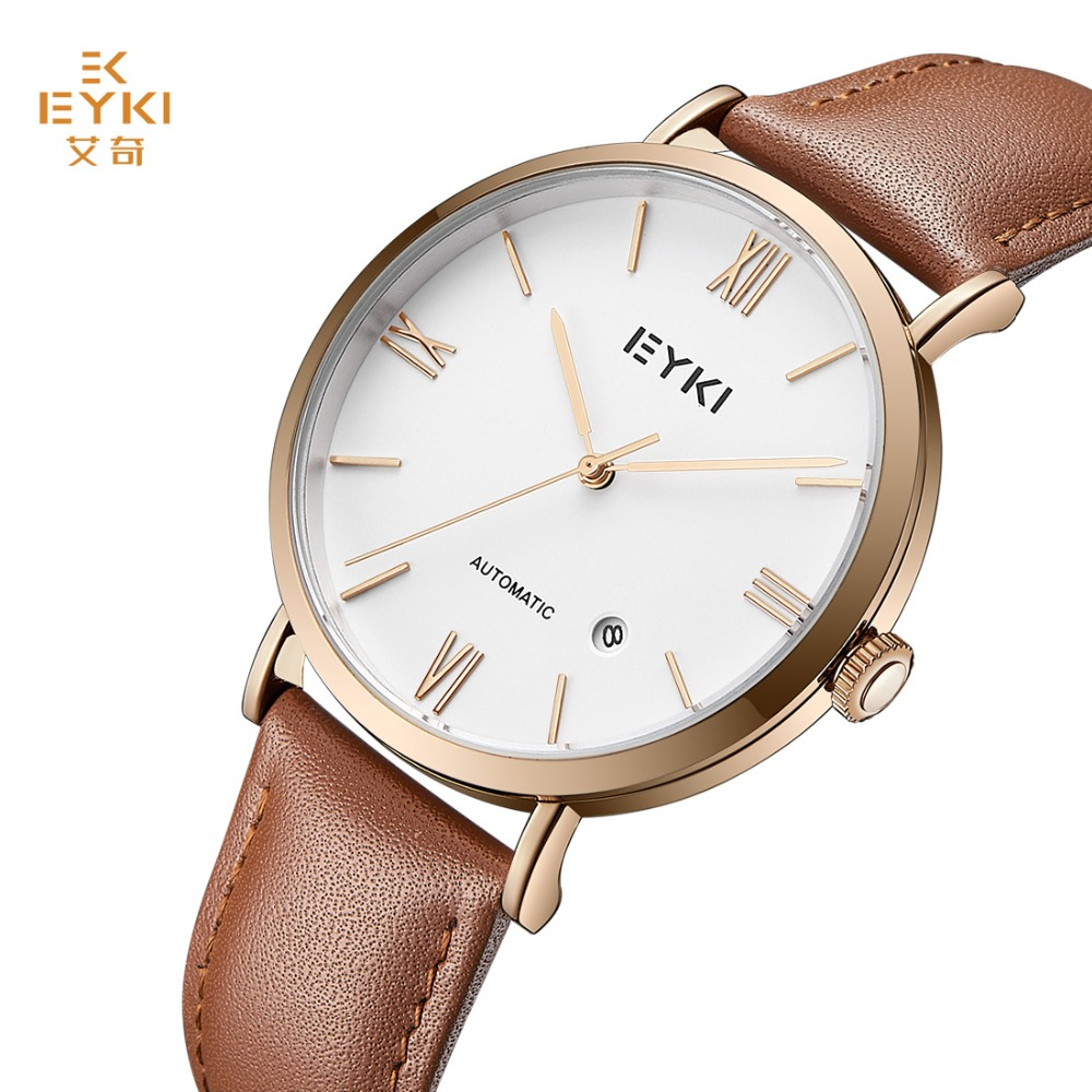 2018 EYKI Mens Watches Top Brand Luxury Automatic Mechanical Watch Casual Genuine Leather Strap Waterproof Analog Wristwatch Men стоимость