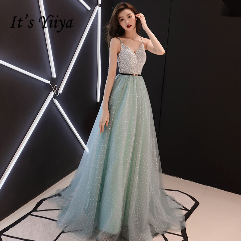 It's YiiYa   Evening     Dress   Sexy Spaghetti Strap Wedding Formal   Dress   Elegant Lace Sashes Floor-length A-line Party Gowns E304