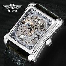 Лучший бренд класса люкс пара деловые часы кожаный ремешок Скелет циферблат мода Победитель Золотой наручные часы для мужчин для женщин