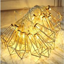3M 20LED Diamond Shape Fairy 2*AA battery String Light LEDs Retro Iron Metal Wedding Party Home Decoration Lantern Lamp