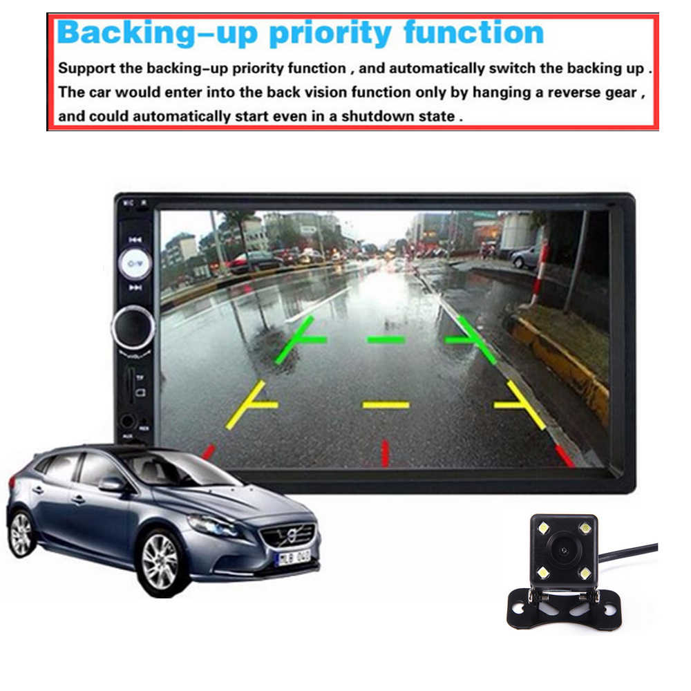 "2 Din カーラジオ 7 ""HD AutoradioPlayer 2DIN タッチスクリーンの自動ステレオ MP5 Bluetooth USB TF FM カメラ手送料"