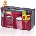 Nylon ocasional portátil de doble cremallera bolsillos viajes multifuncional de almacenamiento bolso de viaje maquillaje cosmético Wash Bag In Bag