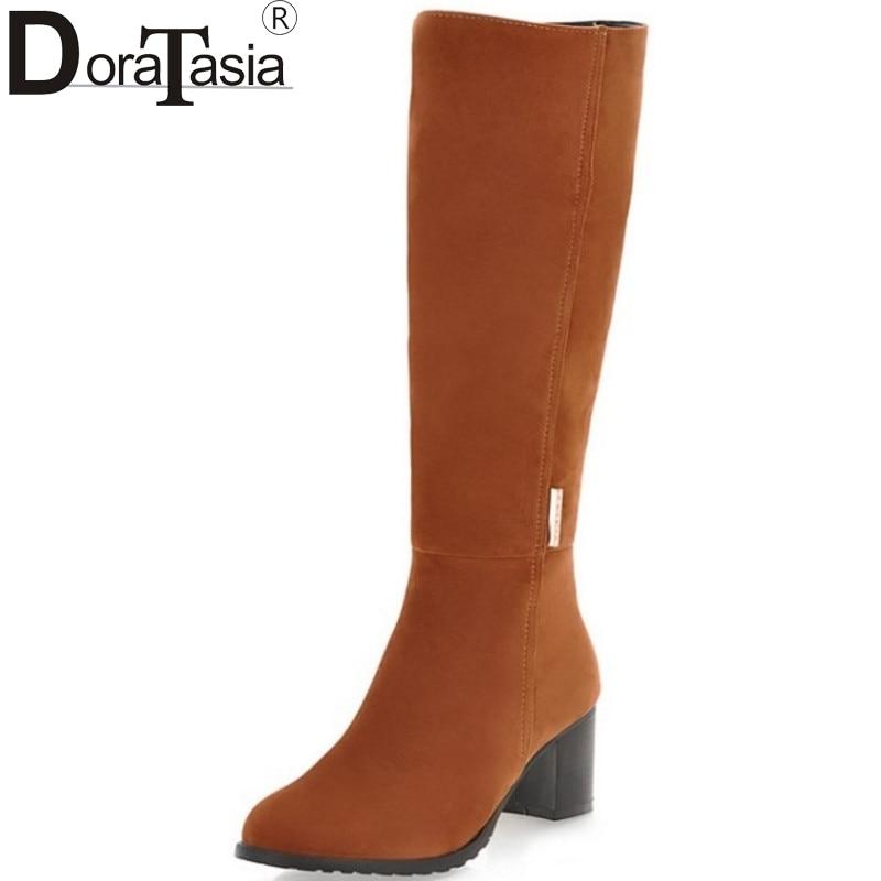 DoraTasia 2017 big size 34-43 Women Boots Vintage Square Med Heels Woman Shoes Round Toe Platform Winter Fur Snow Boots