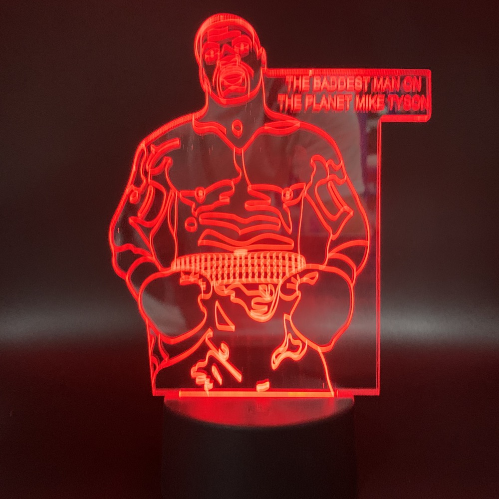 Sport Boxing Player Mike Tyson Figure Led Night Light Gift for Office Room Decor Atmosphere Nightlight Bedside Table Lamp 3d in LED Night Lights from Lights Lighting