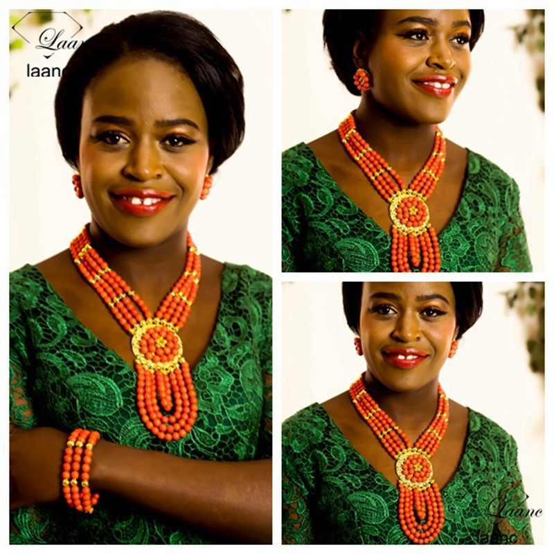 Laancแบรนด์เครื่องประดับปะการังสีสร้อยคอหินS Tud E Arringsไนจีเรียแต่งงานลูกปัดเจ้าสาวเพื่อนเจ้าสาวชุดAL262