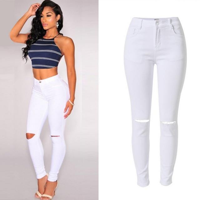Denim Push Womans Taille Pantalon Blanc Haute Crayon Pantalons 2017 qzAwT1IHw