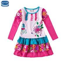 6aa218a8cbc2e4 Novatx H7126 baby meisjes lange mouw bloem jurk kinderkleding frocks  herfst lente meisjes dragen bloemen jurk meisje hoge kwalit.