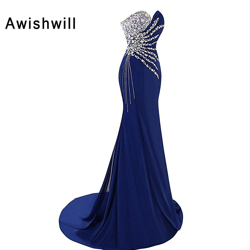 Royal Blue Sexy Long Evening Dress 2019 Floor-length Beaded Chiffon Prom Dress Mermaid Formal Evening Gown Women Robe De Soiree
