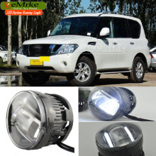 eeMrke Led Guiding DRL For Nissan PATROL 2010~ON 2in1 LED Fog Lights With Q5 Lens Daytime Running Lights
