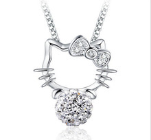 ANENJERY – collier ras du cou en argent Sterling 925, pendentif boule de cristal, chat, cadeau pour femmes