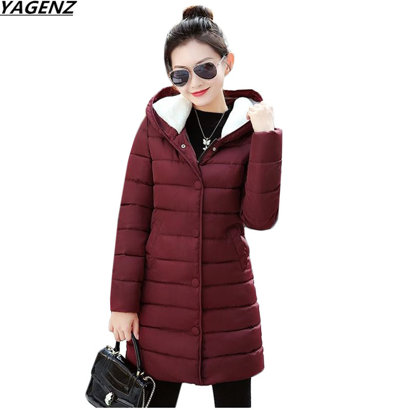 2017 NEW Women Parkas Winter Jackets Coats Cotton Padded Hooded Overcoat Warm Winter Jackets Female Long Overcoat YAGENZ K682 winter jacket women nice new style parkas overcoat brand fashion hooded big size cotton padded warm long jackets and coats s2215