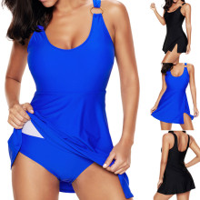 2019 Summer New Style Loose Women Elegant Beach Crossover Swimdress  Swimwear Suit Playsuits Asymmetric Ruffle
