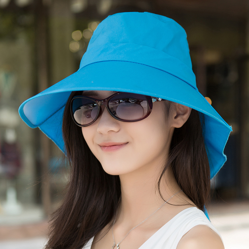 Spring Summer Visors Cap Foldable Wide Large Brim Sun Hat Beach Hats for Women  Straw Hat ... 9165332bf588