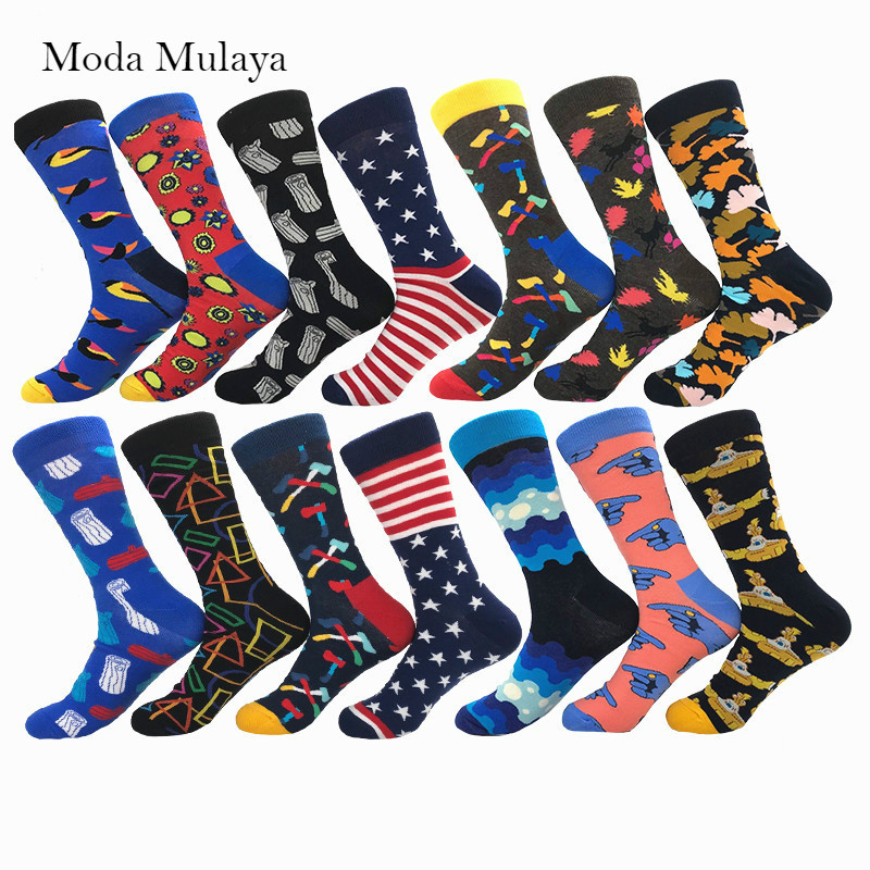 Moda Mulaya Brand Quality Mens Happy Socks Men 100% Cotton Novelty Hip Pop Funky Socks Men's Crew Casual Cotton Socks For Male