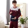Brand men pajamas pocket Splice long-sleeve+Casual pants male pajamas sets 100% Cotton Man sleepwear adult minion pajamas suit