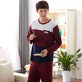 Hombres de la marca pijamas Splice manga larga + pantalones casuales pijamas 100% algodón de hombre ropa de dormir minion adultos pijamas traje