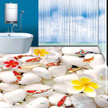 European Oil Painting Carp White Stone Custom 3D Photo Floor Wallpaper PVC Self-adhesive Wear Non-slip Wall Paper For The Wall(China)