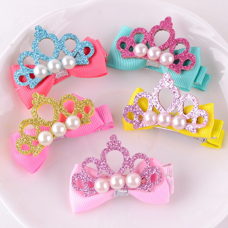 New Hot 1PC Kids Hollow Princess Crown Pearl Hairpin Cute Barrette   Headwear   Hair Accessories