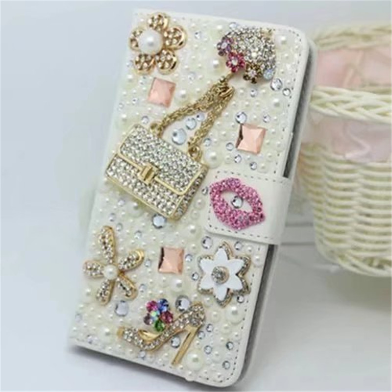 Crystal Rhinestone Wallet Leather Case With Pearl Flower Lipstick Diamond For Iphone 11 Pro Max