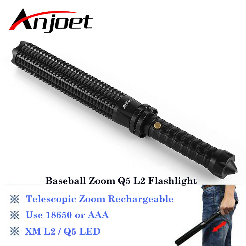Sets Powerful Led Zoomable Flashlight XML Q5 Telescopic Baton Self Defense Police 1101 Patrol Rechargeable Flash Light 18650