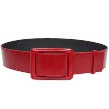 New Square buckle belts decorated girdle women cummerbund red leather wild windbreaker  winter waist wide belt все цены