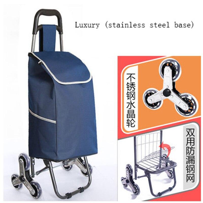 Trois-roues Escalier Femme Panier échelle panier de Shopping grand-capacité caddie Portable étanche sacs à provisions