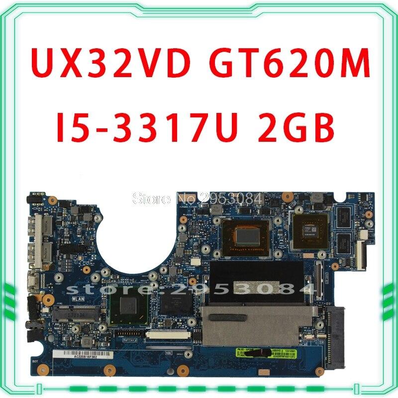 Pour ASUS ordinateur portable carte mère UX32VD SSD Core I5-3317 CPU GT620M 2 GB avec 60-NP0MB1N00-A11 UX32VD carte mère 100% testé OK