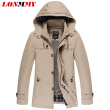 LONMMY 2017 Winter men jacket coat Cotton Thick Velvet Hooded Windbreaker Brand-clothing Hoodies mens jackets and coats