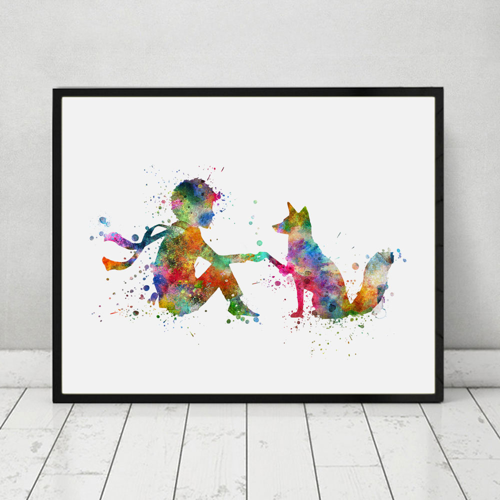 Buy The Little Prince Fox Watercolor Nursery Art Print Poster Fox Wall Decor