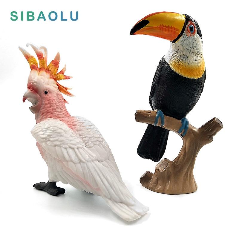 DIY Simulation Toucan Cockatoo Animal Model Bird Parrot Figurine Home Decor Miniature Fairy Garden Decoration Accessories Modern