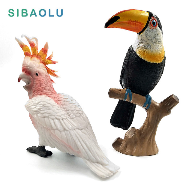 Simulation Toucan Atoo Figure Animal Model Bird Parrot Figurine Home Decor Miniature Fairy Garden Decoration Accessories
