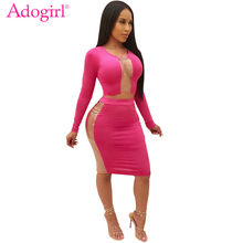 Adogirl sólido rosado Patchwork Sheer dos piezas Set de manga larga Crop Top falda a media pierna de cintura alta Sexy Bodycon Club vestido trajes(China)