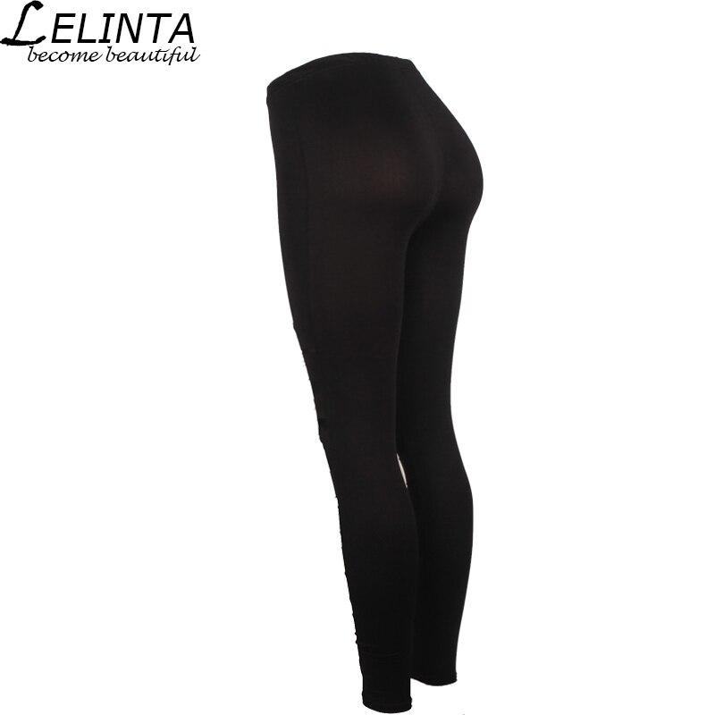 7d7bd0965a1def LELINTA Black Hole Leggings Women Pants Mesh Cotton Elastic Belt Pencil  Pants Hollow Solid Cotton Nine Feet Pencil Pants-in Yoga Pants from Sports  ...