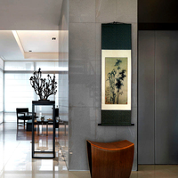 ShaoFu Traditional Chinese Ink Painting On Silk Canvas Bamboo Print Wall Picture Decorative For Living Room Scroll Painting Gift