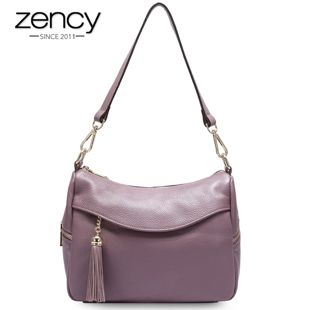 Zency 100% Genuine Leather Fashion Women Shoulder Bag Tassel Charm Ladies Messenger Elegant Handbag Bolso Hombro De Las Mujeres