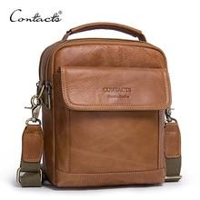 CONTACT'S Echtes Leder Umhängetaschen Fashion Männer Umhängetasche Kleine ipad Männlichen Tote Vintage Neue Crossbody Taschen männer Handtaschen