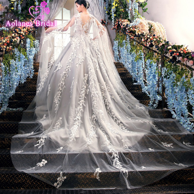 Luxury 2018 Light Gray Wedding Dress Cape Delicate Lace Floral ...