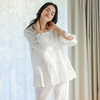 Women Pajamas Cotton Pajamas Suit Vintage Royal Sleepwear Set Sweet Princess Pajamas White Comfortable Clothes For