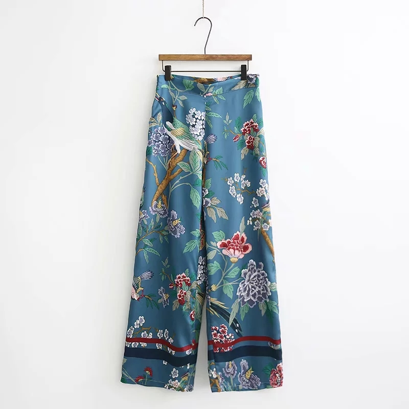 Women faux silk satin floral   wide     leg     pants   female summer spring high waist zipper baggy bohemian print beach trouser ladies