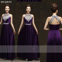 QLY150Z#Diamante purple red Long Halter Lace up Evening Dresses Bride Bridal gown Wedding Party Prom Dress 2019 Wholesale women